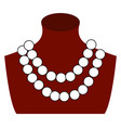 pearl necklace on white background vector image vector image