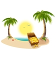 Pirate Treasure Chest on tropical island vector image vector image