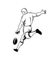 rugplayer or kicker drop kicking ball vector image vector image