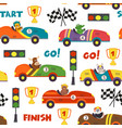 seamless pattern with race cars and animals vector image vector image