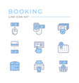 set color line icons booking tickets vector image