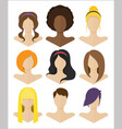 set flat female hairstyles vector image vector image