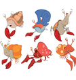 Set of crabs cartoon vector image vector image