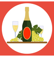 Sparkling wine bottle with wineglasses and grape vector image vector image