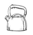 teapot for cook hot drink kitchenware ink vector image