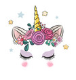 unicorn horn with flowers cute vector image vector image