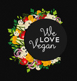 Vegan food concept design with vegetables vector image vector image