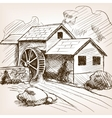Water mill hand drawn sketch vector image vector image
