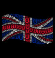 waving great britain flag collage of horseshoe vector image