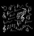 wavy music staves set on black background vector image vector image