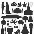 wedding love marriage ceremony silhouette icons vector image vector image