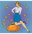 Woman and piggy bank pop vector image