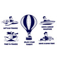 travel icons set happy man traveling vector image