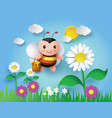 bee flying around with a brimful jar vector image