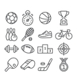 Sport icons in trendy linear style vector image