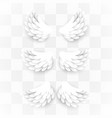 artificial white paper wings set on transparent vector image