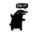 bear roar lettering black doodle vector image