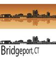 Bridgeport skyline in orange vector image vector image