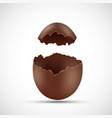 broken open chocolate egg isolated on white vector image