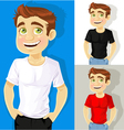 Business man shows a T shirt for print your logo vector image
