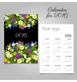 Calendar for 2016 with images of wildflowers vector image