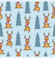christmas seamless pattern with reindeers and vector image vector image