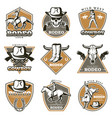 colorful vintage rodeo labels set vector image vector image