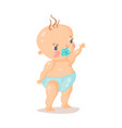 cute cartoon baby in a diaper with pacifier vector image