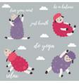 cute cartoon sheep doing some yoga exercises vector image vector image