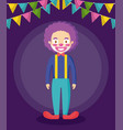cute clown of circus and garlands hanging vector image