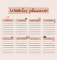 cute weekly planner background with chat bubble vector image