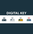 digital key icon set premium symbol in different vector image vector image