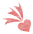 falling heart fabric textured icon vector image vector image