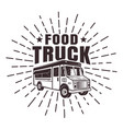 food truck stamp or label with rays vector image