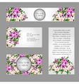Four cards with white and pink field flowers vector image vector image