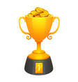 gold cup trophy award with gold and base vector image vector image