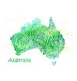 Hand drawn watercolor map of australia with