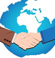 Handshake icon of businessmen worldwide vector image