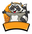 happy cheerful raccoon cartoon character vector image vector image
