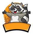 happy cheerful raccoon cartoon character vector image