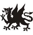 heraldic dragon tattoo black white silhouette vector image vector image