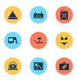 journey icons set with hotel photo house on vector image