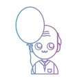 line old man with cloyhes and balloon design vector image vector image