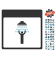 Man Shower Calendar Page Icon With Bonus vector image vector image
