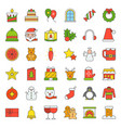 merry christmas icon set 4 filled outline vector image