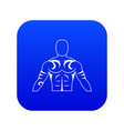 muscular man with tattoo icon digital blue vector image