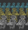 pattern group of robots and personal computer vector image vector image