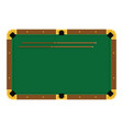 pixel art green billiard table with cue on white vector image