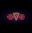 pizza cafe neon sign bright advertising signboard vector image vector image