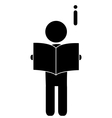 Read book man flat icon pictogram isolated on vector image